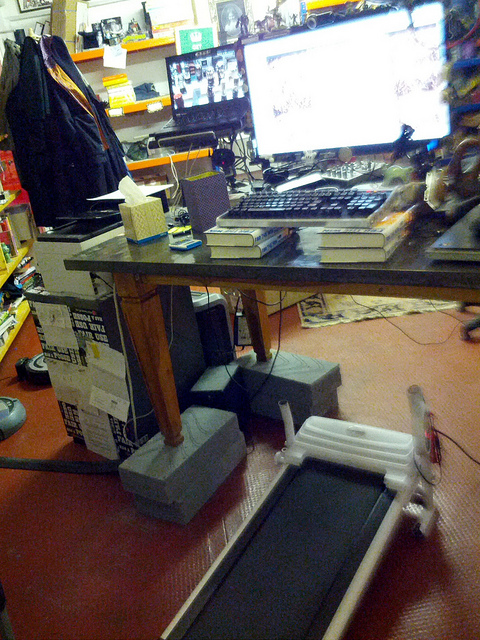 Under Desk Treadmill desk by Cory Doctorow on Flickr