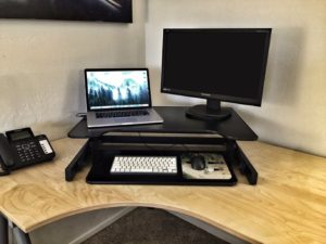 DeskRiser Dual Monitor Sit Stand Desk In Action