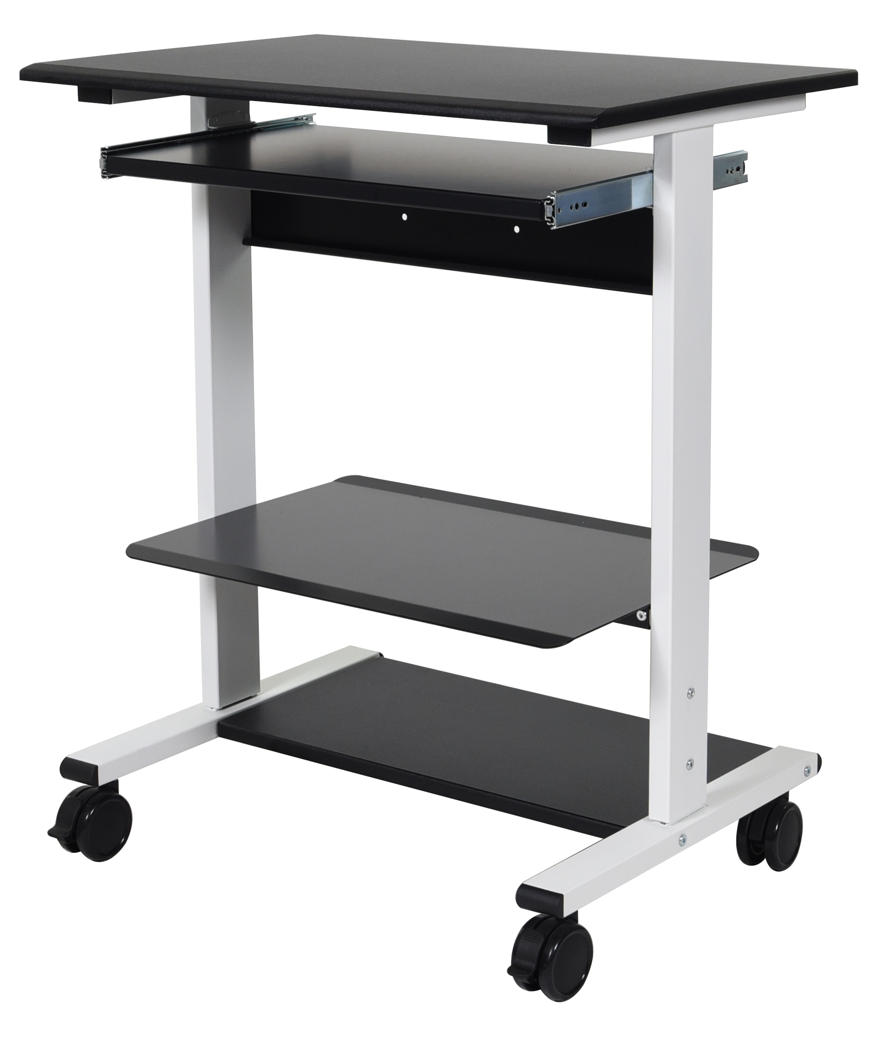Luxor Three Shelf Adjustable Stand Up Workstation Down